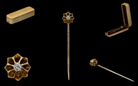 Antique Period 15 ct Gold Diamond Set Gents Stick Pin - the Diamond of good colour and clarity.