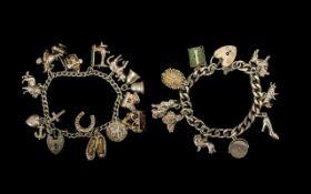 Vintage 1970's Sterling Silver - Nice Quality Charm Bracelets ( 2 ) In Total.