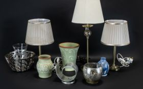 Collection of Lamps & Household Items comprising: a pair of matching bedside lamps with shades;