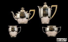 Art Deco Period Fine Quality - Sterling Silver ( 4 ) Piece Tea-Service. The Water Jug and Teapot