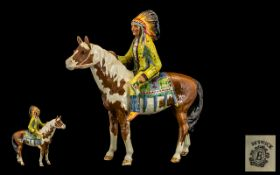 Beswick - Seated Indian Chief Early Figure on Horse ' Mounted Indian ' Model No 1391,