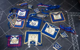 Masonic Regalia Collection of Aprons, Cuffs and Sashes,