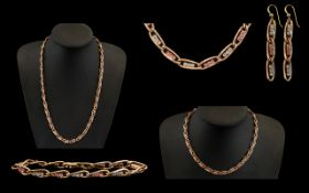 A Suite of Ladies 14ct Rose Gold Stone Set Jewellery comprising two necklaces,