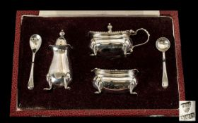 Queen Elizabeth II Boxed Sterling Silver 5 Piece Cruet Set - complete with blue liners.