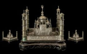 Indian Model of a Fort with four watch towers to each corner; low grade silver approx 17 ozs,
