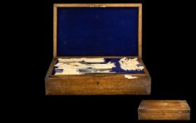 Early 20thC Oak Cased Canteen Of Cutlery Hinged Lid With Lift Out Tray Containing approx 48 pieces,
