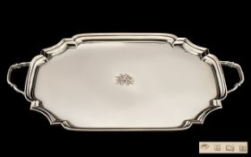 Art Deco Period Nice Quality Sterling Silver Two Handle Shaped Tray of Excellent Proportions -
