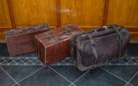 Large Leather Gladstone Leather Bag & Two Others. 19th century Large Gladstone style bag, 27