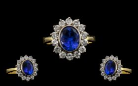 18ct Gold and Platinum Superb Quality - Blue Tanzanite and Diamond Set Cluster Ring. The Oval