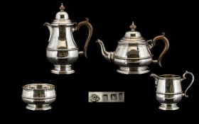 George II Style Superb Quality - Sterling Silver Four Piece Tea Service From The 1920's, Comprises