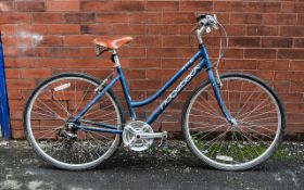 Ladies Ridgeback Motion Bicycle in Royal blue finish, with Brooks leather sprung seat. Designed