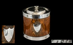 Victorian Period Good Quality Sterling Silver Lidded & Banded Oak Panel Biscuit Barrel.