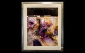 "Large Modern Abstract Print highlighted in gold, signed Douglas, alloy framed. 27"" x 32""."