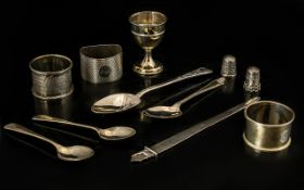A Good Collection of Assorted Sterling Silver Items ( 11 ) Items In Total - All Fully Hallmarked