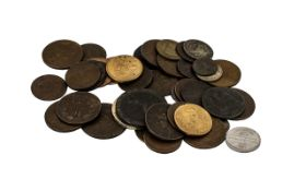 Box of Mixed Coins, Tokens, Georgian Pennies, Coloured Coins - Misc.