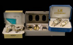 Collection Of 10 Modern Wristwatches All Quartz, His And Hers Boxed Sets Marked Louis Renee,