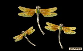 Contemporary Design Superb Quality Set of 3 Signed Silver and Enamel Dragonfly Figures.
