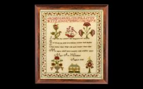 Mid 19th Century Sampler hand stitched by Mary Ann Whitehead, aged 11 years old. Dated 1841.