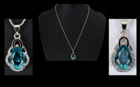 A Stunning And Contemporary Sterling Silver And Swiss Topaz Set Pendant Necklace Comprising Fine