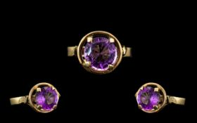 9ct Gold Attractive and Nice Quality Single Stone Amethyst Set Ring - the faceted amethyst of purple