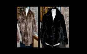 Full Length Musquash Fur Coat in light brown colour, fully lined in sateen printed fabric,