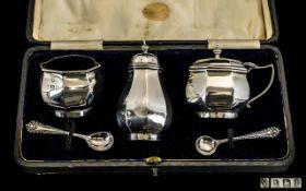 George V Boxed Sterling Silver 5 Piece Cruet Set.