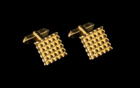 A Fine Pair of Gent's Diamond Cut 1960s Signed 9ct Gold Cufflinks of excellent design and solid
