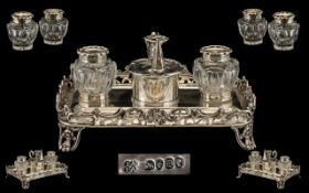 Joseph and John Angell Superb Quality Sterling Silver Double Ink Stand for a Gentleman's Desk.
