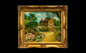 Edith Fish Oil Painting, canvas laid on a board, entitled 'The Old Mill House', entitled verso and
