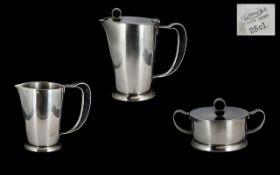 Gense 18 Swedish/Scaninavian 1950s 3 Piece Stainless Steel Coffee Set with Bakelite handles.