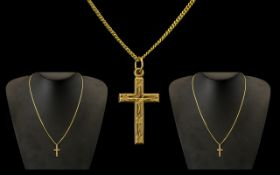 A 9ct Gold Fine Link 20 inch Chain with Pendant cross Gross weight 3 grams.