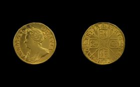Queen Anne Guinea, Date 1713 - third draped bust facing left, legend surround and reads, Anna Del