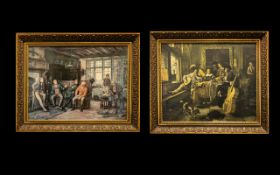 Pair of Art Prints In Gilt Frames, Depicting a Tavern Scene. Size 24 x 29 Inches.