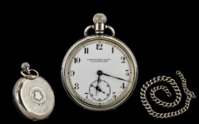 A 1920's Silver Open Faced Pocket Watch with White Porcelain Dial and Lever Movement.