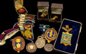 Misc Masonic Medals and Badges Enamel Centres and Silver Mounts and Sashes,