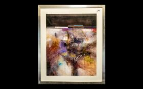 "Modern Abstract Print, with gold highlights. Signed Douglas, alloy framed. Measures 26"" x 33""."