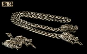 Chinese Mid 20th Century Large and Heavy Silver Chain with Figural Dragon Heads Clasp. c.