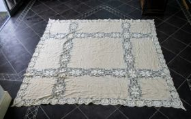 Antique Embroidered Table Cloth of large size, finely stitched in pointe to the central panel.