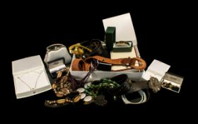Collection of Costume Jewellery & Belts to include a white leather jewellery box containing vintage