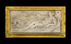 Rare 18th Century English Carved White Marble Tableau Plaque of Diana The Huntress reclining, with a