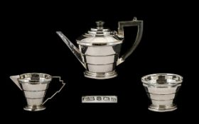 Art Deco Period Stunning Designed - Conical Shaped Sterling Silver Three Piece Singles Tea Service,