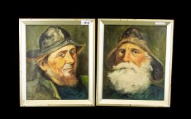Pair of Victorian Oil Paintings on Canvas - depicting old fisherman portrait characters.