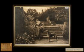 Herbert Dicksee Pencil Signed Etching 'The Old Garden' circa 1921,