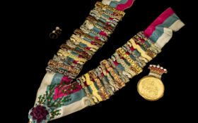 Masonic Medal with Sash with Numerous Awards Attached - The Medallion Gold Gilded of Masonic
