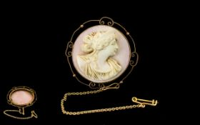 Antique Period Superb Cameo ( Circular ) Mounted In 9ct Gold Ornate Mount with Long 9ct Gold Safety
