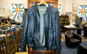Gentleman's Leather Jacket black soft leather, bomber jacket style, chest size 44''. Made by Stuarts