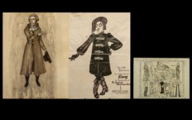 Three Ink Drawings of Theatrical Stage Interest.
