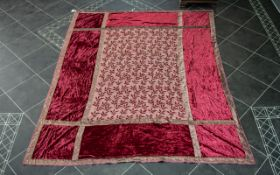 Large Victorian Red Silk Damask Table Cloth,