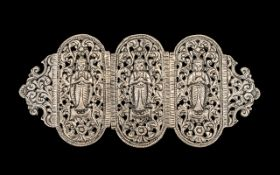 Burmese Silver Buckle. Large silver 3 piece Burmese silver buckle, highly decorated with Buddhas