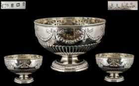 Elkington & Co Superb Quality Large and Impressive Sterling Silver Punch Bowl,